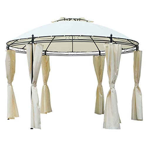 Outsunny 11.5' Steel Fabric Round Soft Top Outdoor Patio Dome Gazebo Shelter with Curtains - Cream White