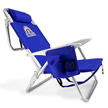 4-Position Lay Flat Reclining Beach Chair with Backpack Carry Straps and Storage Pouch by Sol Coastal