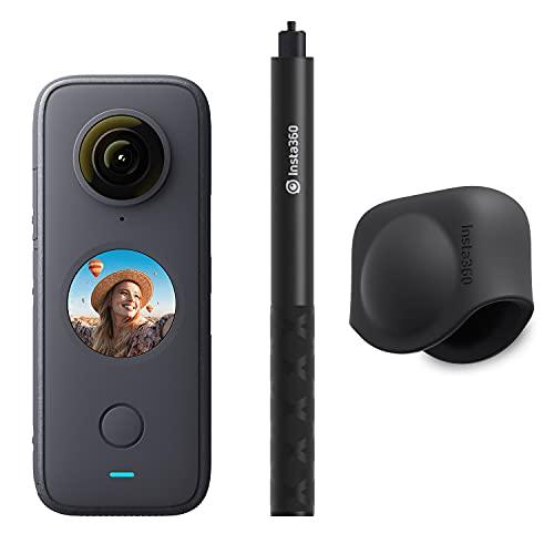 Insta360 One X2 360-Grad-Action-Kamera, Premium-Set mit unsichtbarem Selfie-Stick und Objektivdeckel.