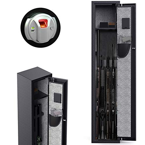 CISNO Gun Safes for Rifles and Shotguns, Biometric Rifle Gun Safes, Quick Access Gun Storage Cabinet with Handgun Holder (Fingerprint 4 Rifles)