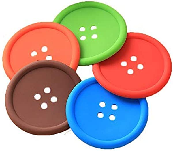 Grekywin 10 Pcs Button Shaped Silicone Coasters Tabletop Protection Durable Reusable Non Slip Bottom Large Size Drink Coasters For Outdoor Dinner Assorted Colors