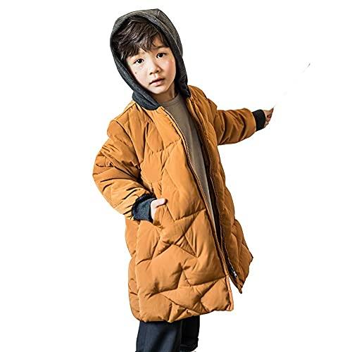 Chaqueta de larga dudas de chicos, chaqueta ligera forrada acolada de moda con bolsillos con capucha adecuados para los niños para mantener la chaqueta de capa de lana de lana de color sólido caliente