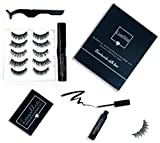 Magnetic Eyeliner and Magnetic Eyelash Kit, No Glue Reusable Silk False Eye Lashes, Magnetic Eyelashes Set with Most Natural Look, Best Quality lash Magnet, Waterproof Liquid Eye Liner, Free Tweezers
