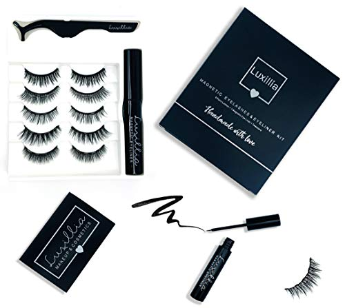Magnetic Eyeliner and Magnetic Eyelash Kit, No Glue Reusable Silk False Eye Lashes, Magnetic Eyelashes Set with Most Natural Look, Best Quality lash Magnet, Waterproof Liquid Eye Liner, Free Tweezers