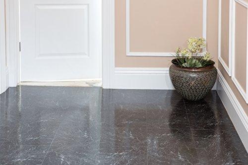Achim Home Furnishings STT1M40920 Black with White Vein Marble Sterling x 12 Self Adhesive Vinyl Floor Tile-20 Tiles/20 sq. ft