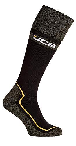 JCB Pro Tech Welly Herren Socken - Winter Warme Dicke Lange Socken für Gummistiefel - Verstärkte Ferse und Zehen - Extra Komfortable Aerobic Cuff Gr. Large, Schwarz