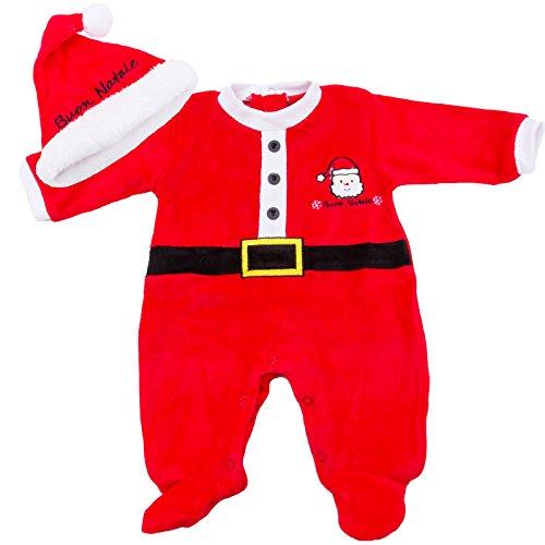Toocool - Bambino Neonato Tutina Babbo Natale Cappellino Pagliaccetto Nuovo XNO-386 [9/12,Fantasia 1 Rosso]
