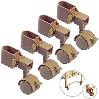 WaiMin Roulettes de 3,8 cm pour berceau, roulettes pivotantes à 360 degrés avec frein, pour accessoires de berceau, pousse...