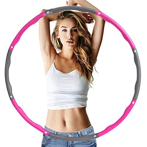 AICHUAN Fitness Hula Hoops,Gewichtsverlust Hula Hoops, Reifen mit Schaumstoff,abnehmbare Hula Hoops (mit 6-8 Abschnitten),geeignet für Erwachsene und Kinder zur Fitness(Pink Grey)