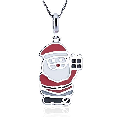 LGSY 925 Sterling Silver Christmas Santa Claus Charm Crafting Accessories Decorations for Necklace Bracelet Jewelry DIY Making