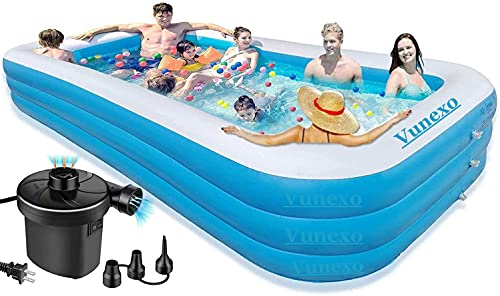 Vunexo / Inflatable Swimming Pool adults Above Ground,10Feet-Swimming Pools Bestway for Kids and Adults,Outdoor,Backyard,Garden-Easy Set Family Pool with Electric Air Pump 120' X 72' X 24' -(Multi) (10-Feet)