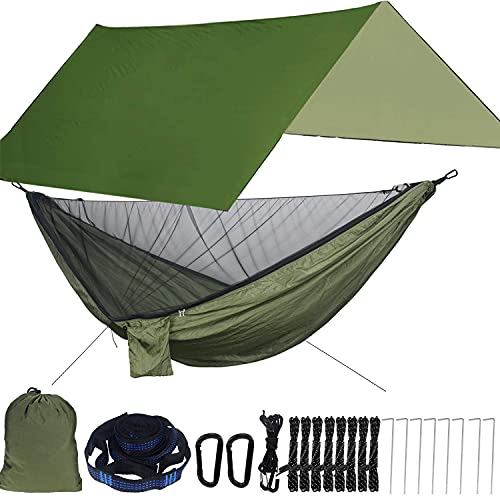 Farfly Camping Hammock with Mosquito Net and Rainfly ,Backpacking Hammock with Rain Fly and Mosquito Net Suitable for Backpacking,Hiking,Camping, Travel