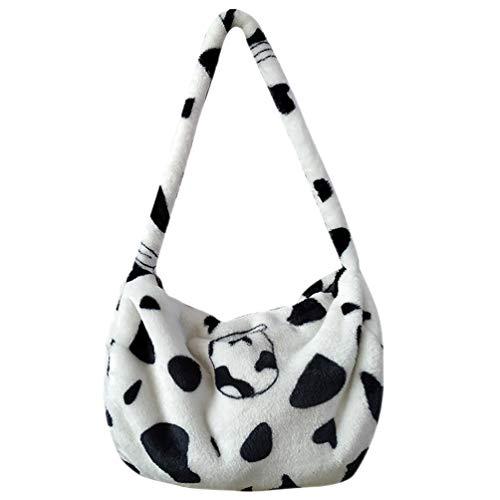 VALICLUD Shoulder Tote Handbag Milk Purse Kawaii Faux Fur Purse Bolsa de Asas con Estampado de Vaca Furry Handbag for Women