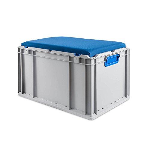 aidB Eurobox NextGen Seat Box, blau, (600x400x365 mm), Griffe geschlossen, Sitzbox mit Stauraum und abnehmbarem Kissen, 1St.