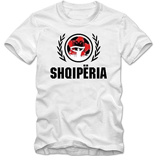 Albanien WM 2018#2 T-Shirt | Shqiperia | Fußball | Kinder | Kuq e zinjtë | Trikot | ALB | Nationalmannschaft, Farbe:Weiß (White L190k);Größe:12 Jahre (142-152 cm)