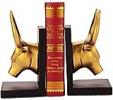 Jyy sujetalibros de ganado decoraciones regalos artesanías, extracto de oro estatuas vaca buey figurita coleccionables de resina