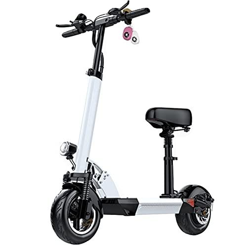 ZXQZ Scooter Eléctrico para Adultos, Scooters Plegables de Motor con Faro LED, Scooter Eléctrico de Cercanías para Adolescentes (Color : White, Size : 60km)