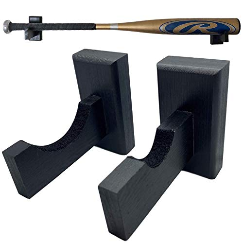 Baseball Bat Display Wall Mount | Black Bamboo Wood with Felt Liner and Hidden Screws | Easy to Hang On Wall | Perfect for Display Or Storage | Horizontal Holder (Black)