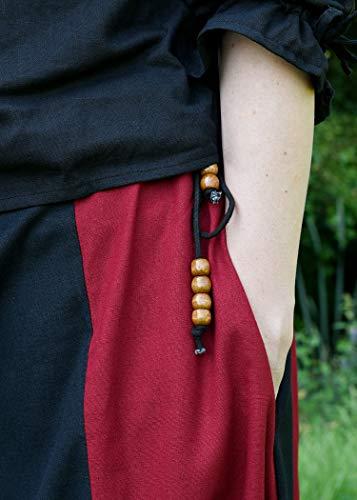 Mittelalterlicher Rock, weit ausgestellt aus schwerer Baumwolle Mittelalter LARP Wikinger Kostüm verschiedene Ausführungen (M, Schwarz/Rot) - 4