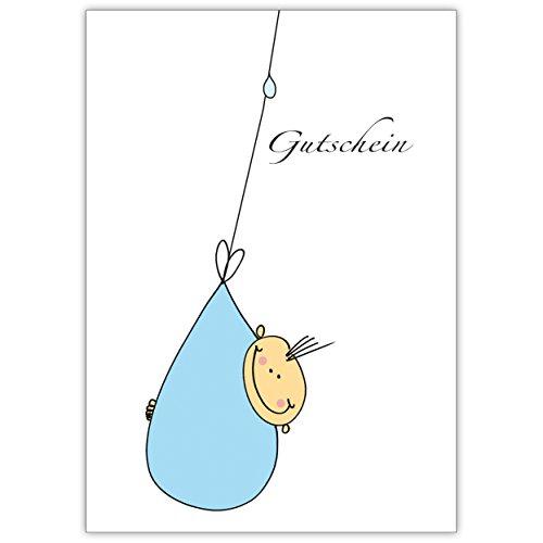 In 5-delige set: schattige cadeaubon voor verjaar/doop met kleine baby in zakje, lichtblauw • liefdevolle welkomstkaart, wenskaart voor moeder en kind, individuele babykaart voor medewerkers, familie, vrienden en collega's