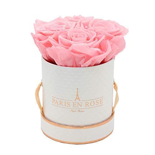PARIS EN ROSE Rosenbox Petit Palais Bijou Delux | 3 Jahre haltbar | Weiß-Roségold mit rosa Infinity Rosen | Flowerbox mit 4 konservierten Blumen