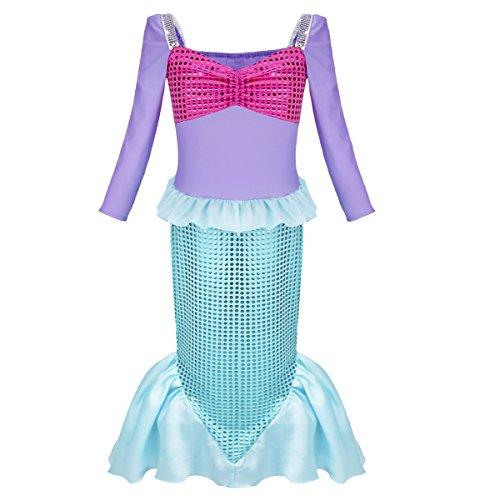 iEFiEL Kinder Kostüm für Mädchen Meerjungfrau Kostüm Prinzessin Kleid Meerjungfraukostüm Halloween Karneval Fasching Kleid Blau 98-104