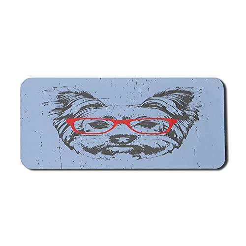 Gaming Mauspad Yorkshire Terrier Portrait Red Nerd Brille Verdorbene Kulisse Tier Rutschfestem Gummiunterseite Mousepad Anti-Ausfransen Stabiler Gaming Mausmatte 25X30Cm