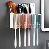 iHave Soporte de cepillo de dientes montado en la pared, soporte de cepillo de dientes eléctrico para baño con 3 tazas,...