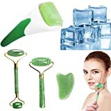FIGHTART 4 in 1 ice roller natural 100% real jade roller gua sha 2020 facial eyes massage jade roller for face massager Puffiness Migraine Pain Relief