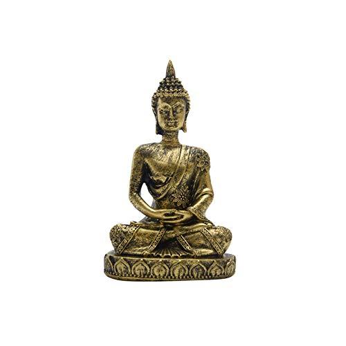 Buddha Statue, Hindu Sculpture Meditation Buddha Figurine, Resin Miniature Blessing Buddha Idol for Buddhists Temple Porch Decoration