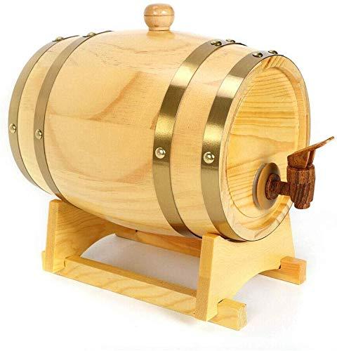 JLDN 3L Barril de Vino, Barril de Madera de Roble Envejecimiento Barril con Grifo Soporte Revestimiento de Papel de Aluminio para Vino, licores, Cerveza y el Licor,A
