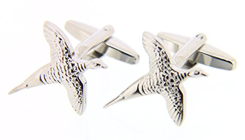 Soprano Argent Flying Faisan solide Country Boutons de manchette