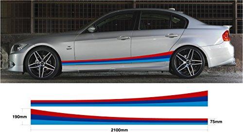 BMW SS20009 Grafischer Aufkleber für Autoseiten, Set M für BMW Spor E30/E36/E39/E46/E60/E90/M3/M5