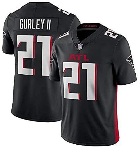 WSSW Majestic NFL Football Atlanta Falcons 21# Gurley II T-Shirt Jersey Bequem Und Atmungsaktiv Trikot,American Football Shirt,Black-S