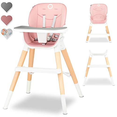 Lionelo Mona Seggiolone Pappa 4 in 1 sgabello sedia turistica regolabile doppio vassoio feltrini antiscivolo pratico poggiapiedi cinture 5 punti lombare fino 75 kg (Rosa)