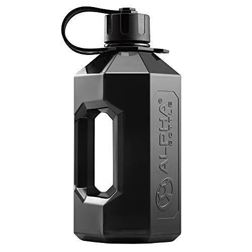 Alpha Flasche XXL – 2,4 Liter Wasser Krug/Gym Flasche - Transparent / Schwarz