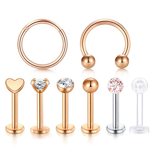 LAURITAMI Cartilage Tragus Earrings 16G Surgical Steel Labret Monroe Medusa Lip Ring Rook Helix Earring Stud CZ Barbell Piercing Jewelry 8mm