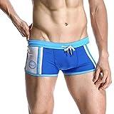 iLXHD Men's Sexy Stripe Nylon Breathable Bulge Briefs Swimming Trunks Board Shorts Blue
