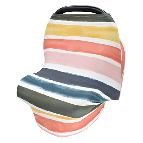 Nursing Cover for Baby Breastfeeding Stretchy Car Seat Canopy for Baby Girls/Boys, Multi-Purpose Soft Breathable Nursing Cover for Shopping Cart, High Chair, Stroller, Baby Shower Gifts(Stripe)