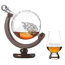polar-effekt Whiskykaraffe Globus Segelschiff mit Weltkarte - 1 The Glencairn Glass Nosing Glas Tumbler mit Gravur Motiv Line Ornament - Whisky Flasche Weltkugel Dekanter 850ml - Geschenkidee