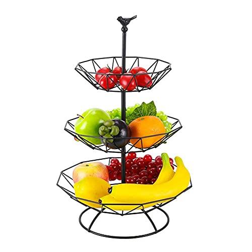 DLILI 3-nivås bänkskiva fruktkorg metall fruktkorg, fruktskål grönsak brödkorg display förvaringsställ avtagbar, kökstillbehör, svart, korg förvaringslåda
