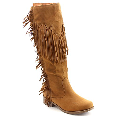 Nature Breeze Fringe Moccasin Flat to Low Heel Knee High Boots (6, Tan)