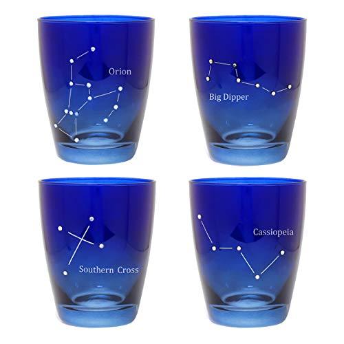 ガラスコップ セット コップ ガラス 涼しげグラス タンブラー カフェ 4個セット おしゃれ かわいい 星空グラス 夜空 4Pセット オリオン座 北斗七星 南十字星 カシオペア座 星座 敬老の日