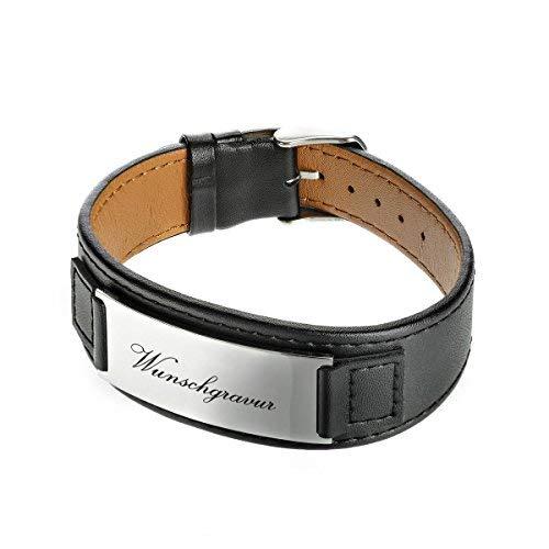 polar-effekt Lederarmband schwarz mit Gravur – Armband aus Leder – Herren Schmuck – Männer Geschenk zum Geburtstag, Valentinstag - mit Geschenketui