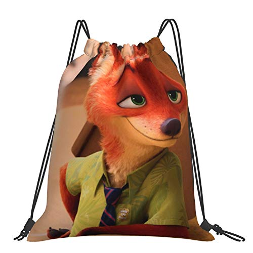 Crazy An-imal City Red Fox Sack Drawstring Backpack Outdoor Portable Backpacks Large Capacity School Bag Canvas Sports Swimming Travel Beach Unisex Rucksack