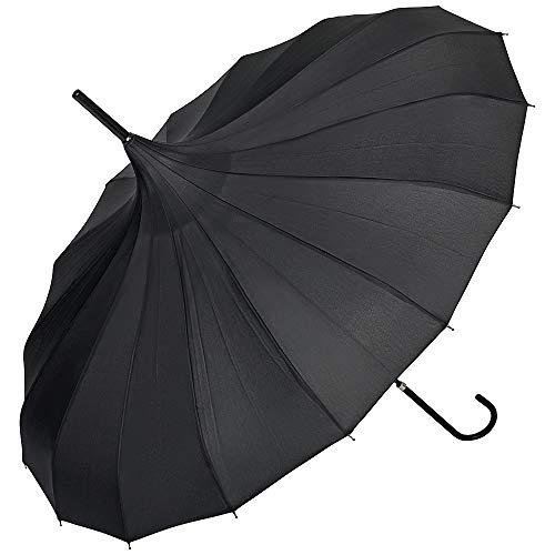VON LILIENFELD Regenschirm Damen Sonnenschirm Hochzeitsschirm Pagode Fabienne, creme/ivory / schwarz, D90/L86, Schwarz