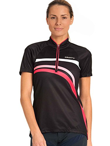 Craft Damen Trikot Performance Bike Stripe Jersey, Black/Cheer, S, 1901270-9444