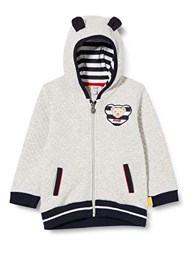 Steiff Baby-Jungen mit süßer Teddybärapplikation Sweatjacke, Soft Grey Melange, 080
