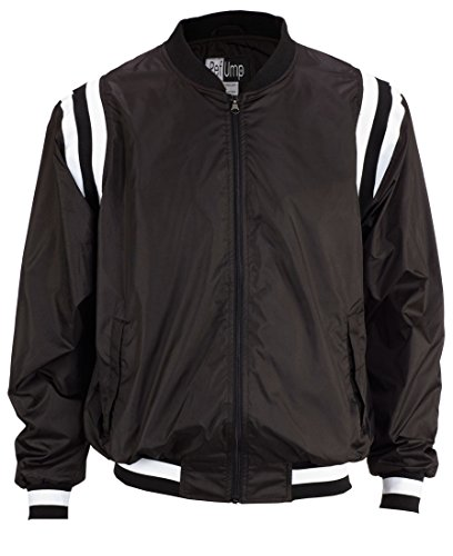 Smitty College Style Full front Zip Polyester Shell Jacket, Black with Black/White Insert, Medium