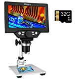 7' LCD Digital Microscope Camera with 32GB TF Card 1080P USB Video Microscopes 1200X Magnification Microscopio for Adults Kids with 8 LED Light for Coin Circuit Board Soldering PCB Watch Clock Repair